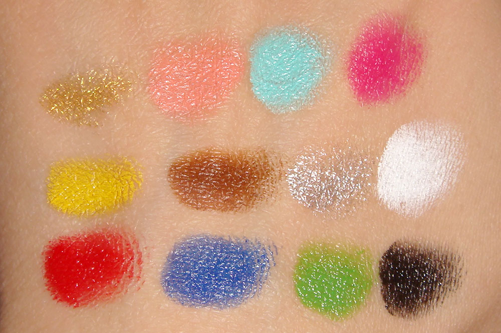 Make Up For Ever 12 Flash Color Case swatches