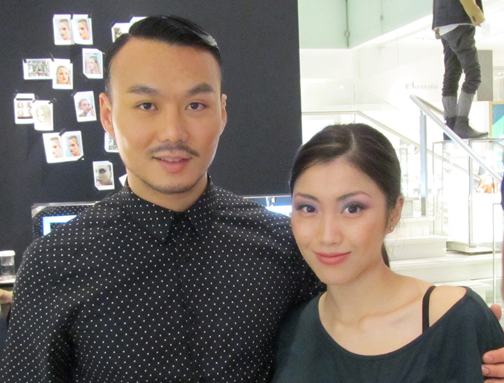 Phyllis Li with runway makeup artist Christopher Kam