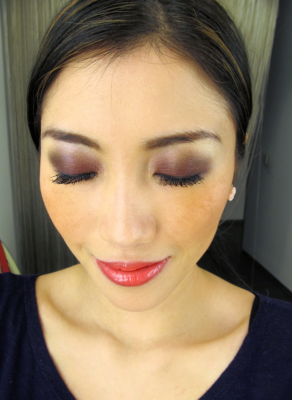MAC Burgundy smoky eyes with coral lip makeup look