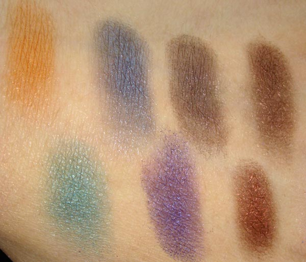 MAC Mega Metal Shadow Paparazz-she, Dandizette, Unflappable, Center Stage, Odalisque, Noir Plum, Spectacle of Yourself Swatches