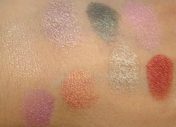 MAC Mega Metal Shadow Peek-at-you, Dalliance, Ego, Top of the Posh, Mating Call, Tweet Me, Prance, Sexpectations Swatches