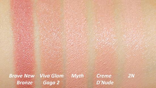 MAC Myth 2N Viva Glam Gaga 2 Lipstick Swatches