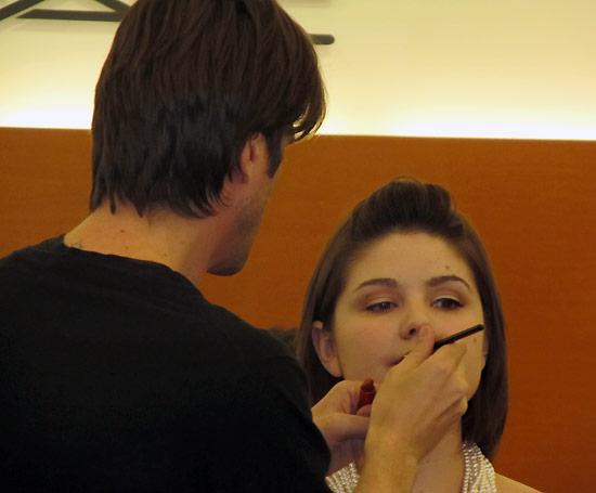 MAC Senior Artist John Stapleton doing a bridal makeup demonstration with