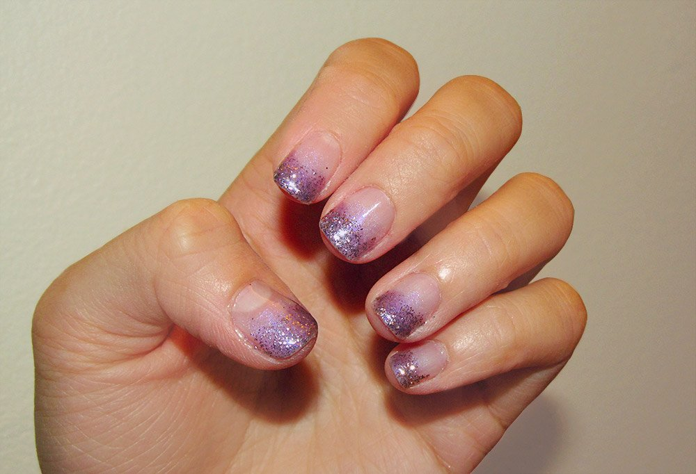 Purple Gel Nails with Gelish Structure Gel, MAC Violet and Entremauve Pigments and OCC Beige and Slate Glitters