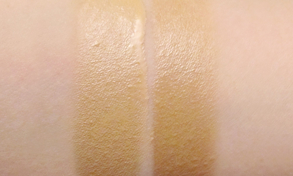 Kanebo Sensai Fluid Finish Lasting Velvet Foundation swatches