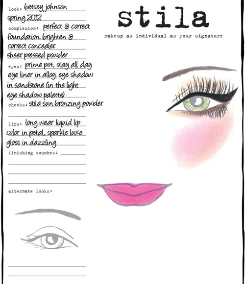 Betsey Johnson Spring 2012 Stila Facechart