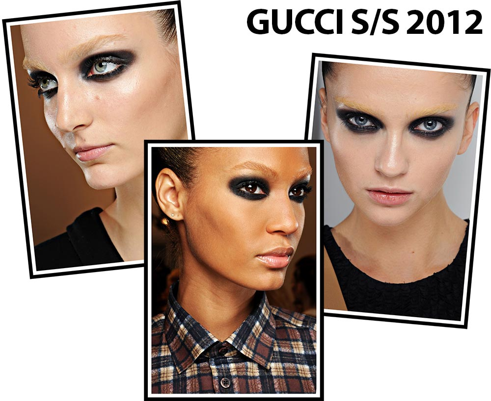 Dark eye makeup and bleached brows at Gucci Spring 2012 Milan Fashion Week