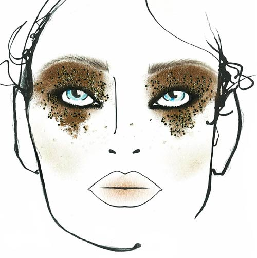 Glam rock makeup face chart by MAC at DSquared2 Spring/Summer 2012