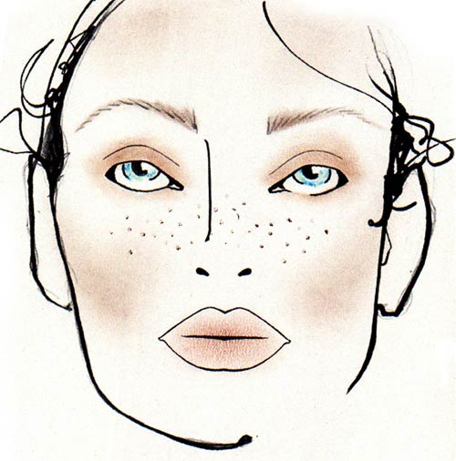 Hippy makeup face chart by MAC at DSquared2 Spring/Summer 2012