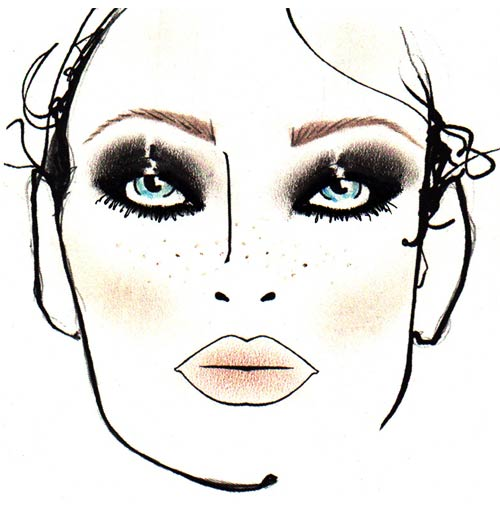 Rock makeup face chart by MAC at DSquared2 Spring/Summer 2012