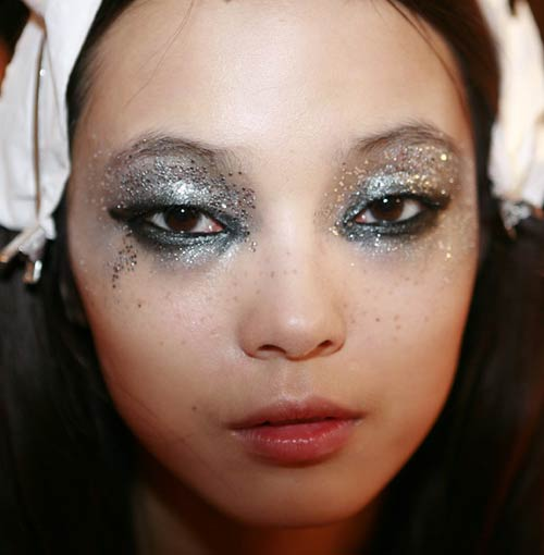 Glittery rock makeup at DSquared2 Spring/Summer 2012 Milan Fashion Week