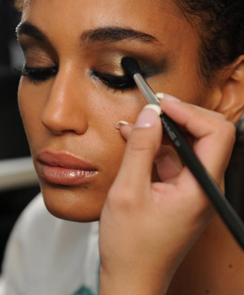 Makeup backstage at Emilio Pucci 2012 Milan Fashion Week