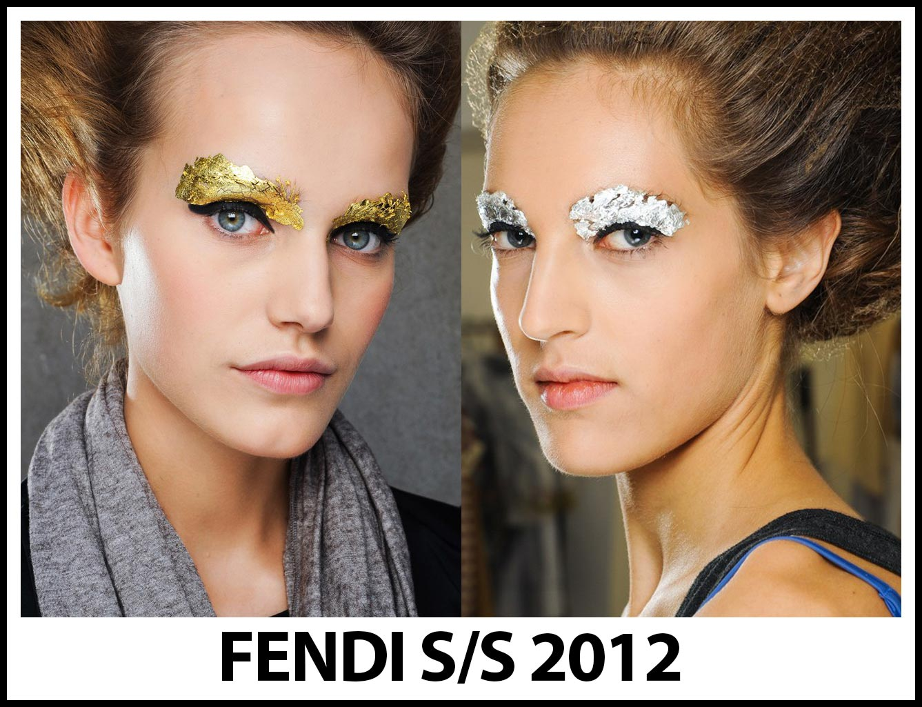 Gold and silver foil eyes at Fendi Spring 2012