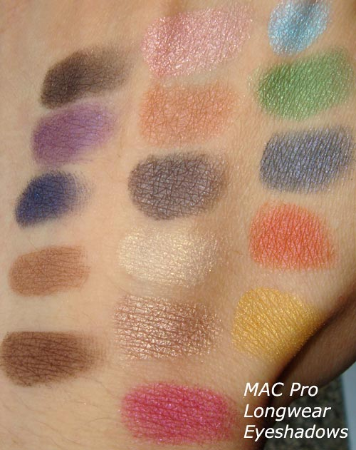 MAC Pro Longwear Eyeshadow Swatches with flash