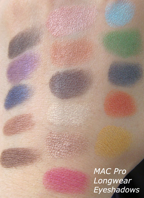 MAC Pro Longwear Eyeshadow Swatches no flash