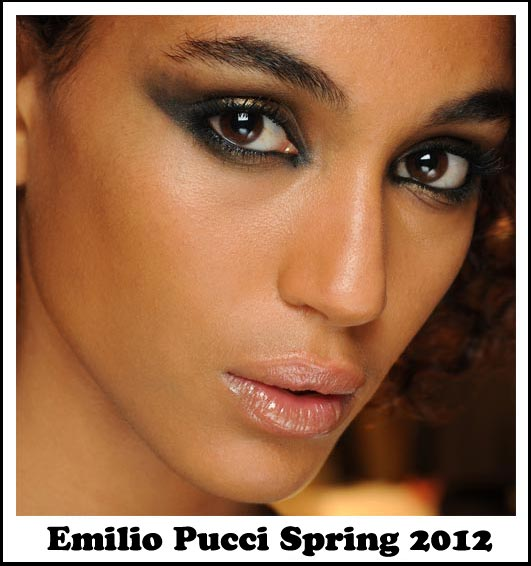Smudgy eye makeup at Emilio Pucci Spring 2012 Milan Fashion Week
