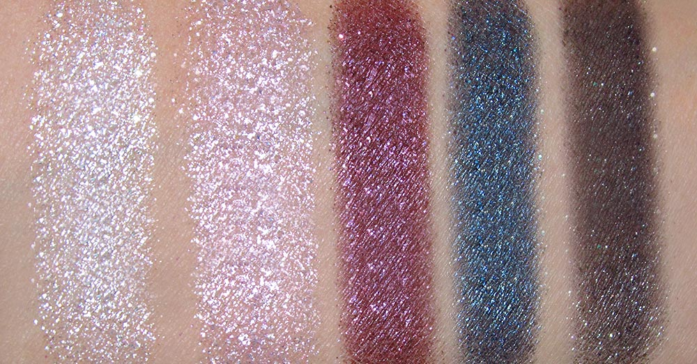 Revlon Celestial Silver, Starry Pink, Plum Galaxy, Neptune Star and Night Sky swatches