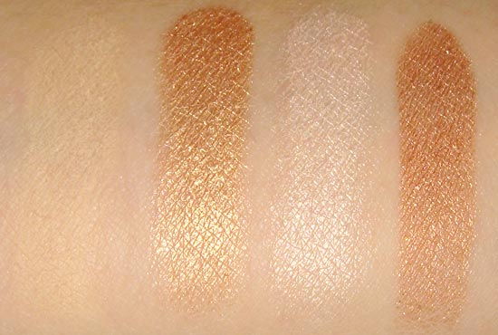 Urban Decay Naked 2 Foxy Half Baked Bootycall and Chopper swatches