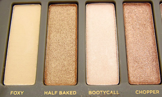 Urban Decay Naked 2 Foxy Half Baked Bootycall and Chopper shadows