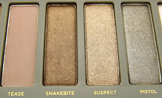Urban Decay Naked 2 Tease Snakebite Suspect and Pistol shadows