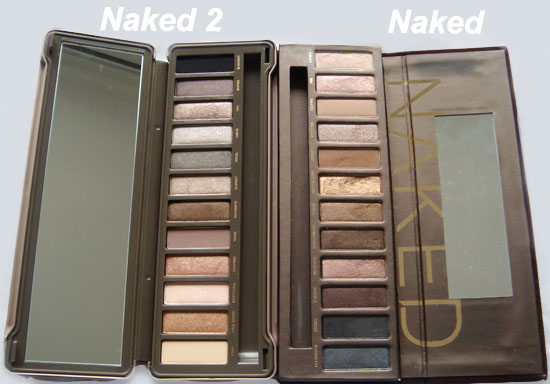 Urban Decay Naked and Naked 2 Palette comparison