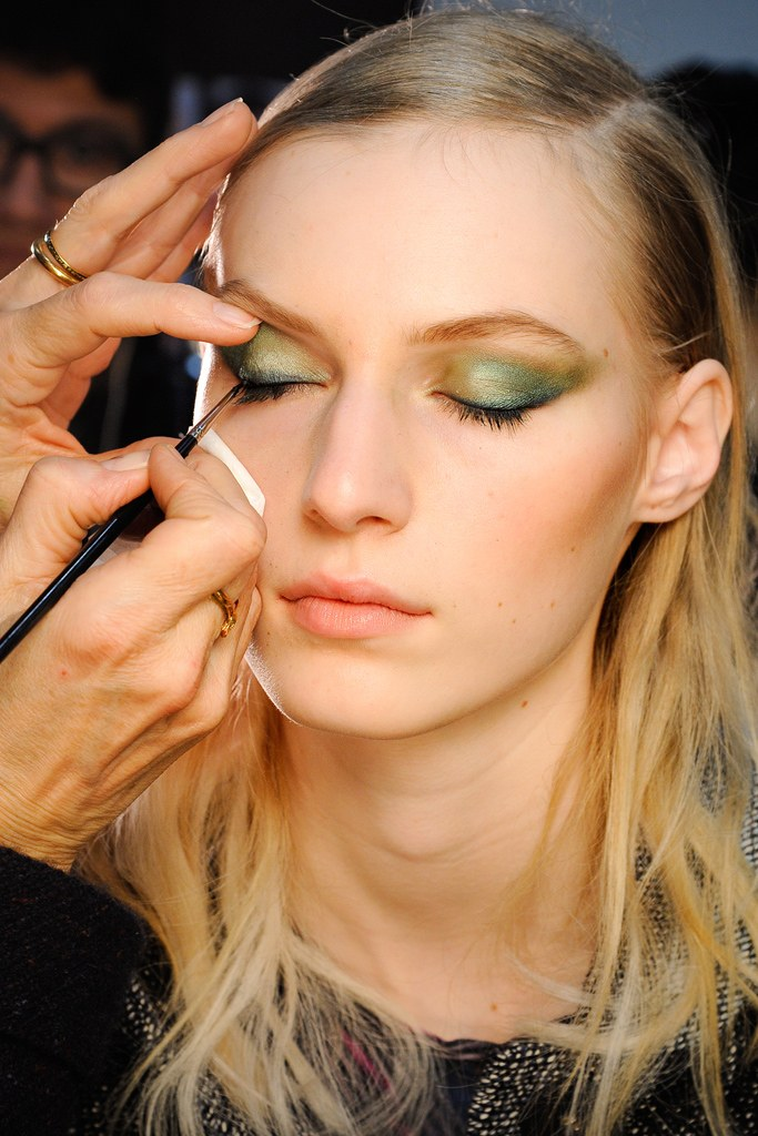 Teal eye makeup by MAC at Jason Wu Fall 2012