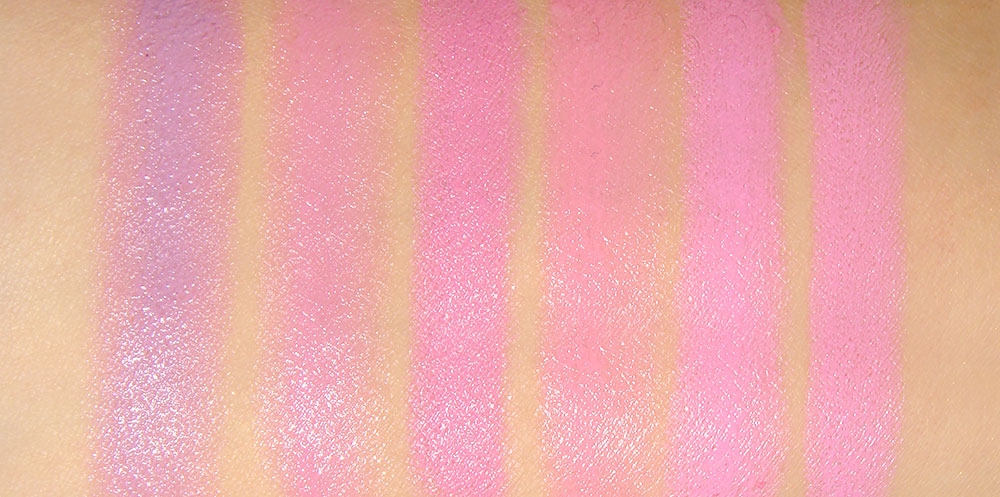 MAC Lavender Whip, Budding Love, Pink Friday, Viva Glam Gaga, Melrose Wood and Saint Germain pink lipstick swatches comparison