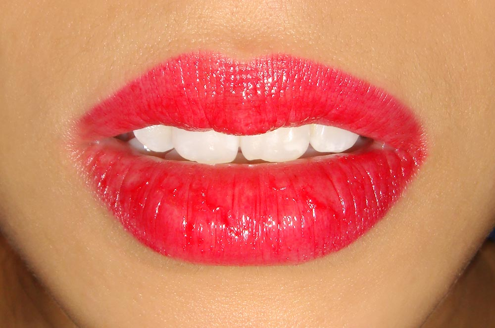 Wearing NARS 413 Bleecker Larger Than Life Lip Gloss lip swatch