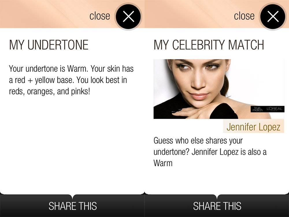 My L'Oreal Paris True Match Matchmaker App results
