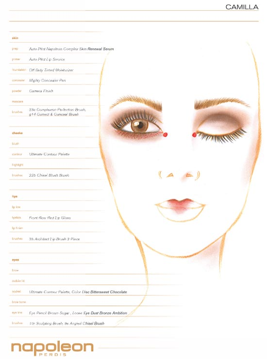 Camilla MBFWA Spring 2012/2013 makeup face chart