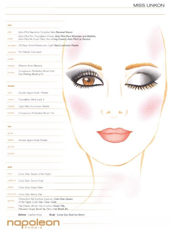 Miss Unkon MBFWA Spring 2012/2013 makeup face chart