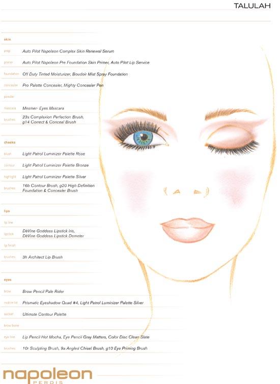 Talulah MBFWA Spring 2012/2013 makeup face chart