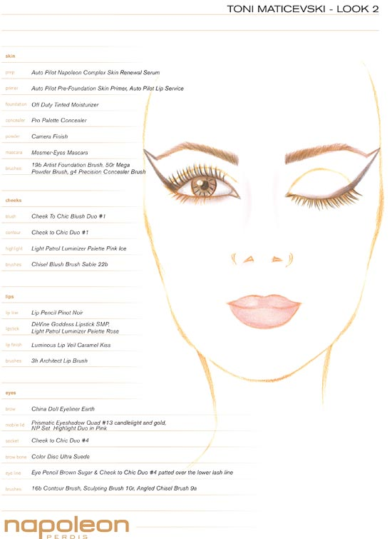 Toni Maticevski MBFWA Spring 2012/2013 makeup facechart