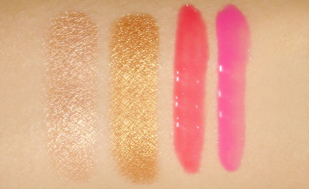 Swatches of Anastasia ILLUMIN8 Shadow duo in On Set and HydraFull Gloss colors in Heiress and Plastic
