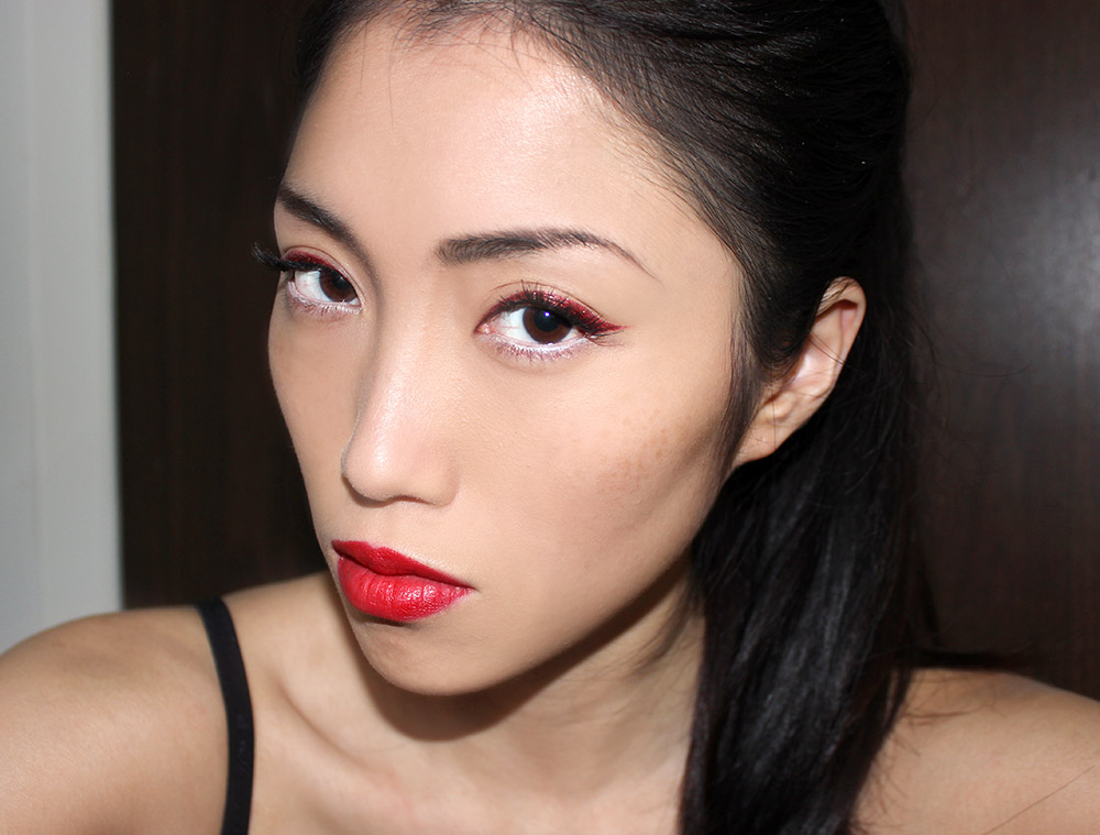 MAC Ruffian Red Lipstick and Make Up For Ever Iridescent Red Aqua Liner Face Of The Day