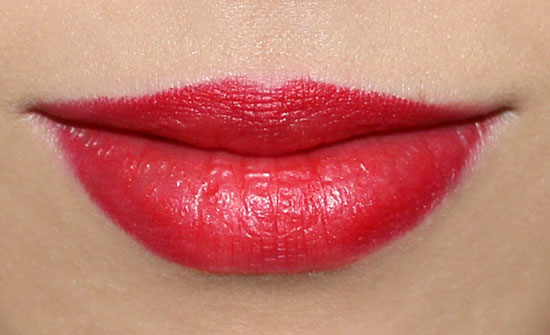 Wearing MAC Ruffian Red Lipstick