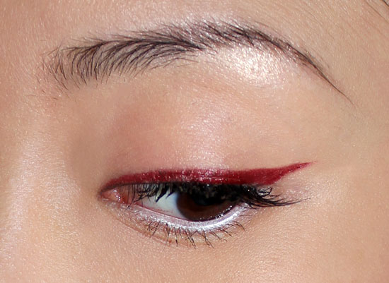 Wearing Make Up For Ever Iridescent Red Aqua Liner
