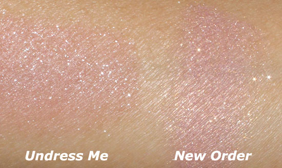 NARS Undress Me Multiple and New Order Highlight Blush swatch comparison