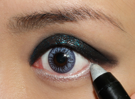 Wearing NARS Soft Touch Shadow Pencil in Silver Factory on the waterline