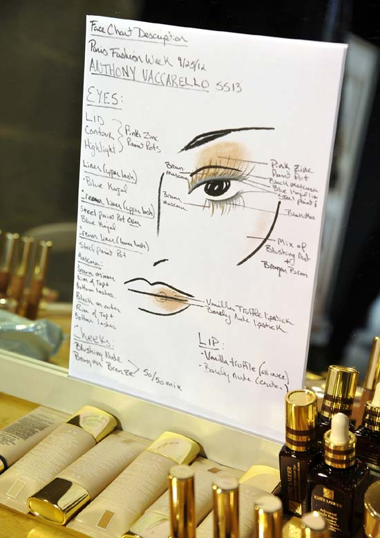 Anthony Vaccarello Spring/Summer 2013 makeup facechart by Estee Lauder