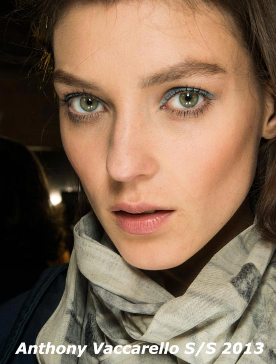 Blue eyeliner at Anthony Vaccarello Spring 2013