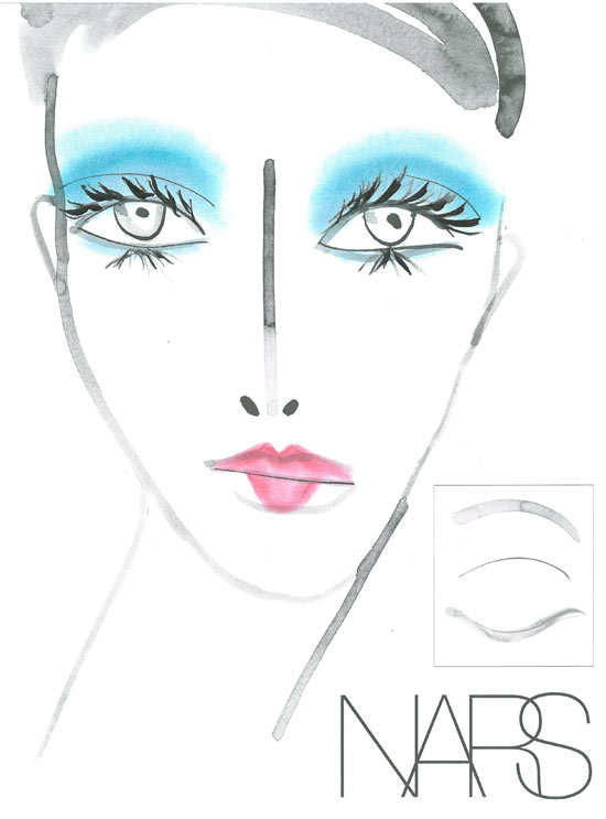 Joy Cioci Spring/Summer 21013 makeup face chart by NARS
