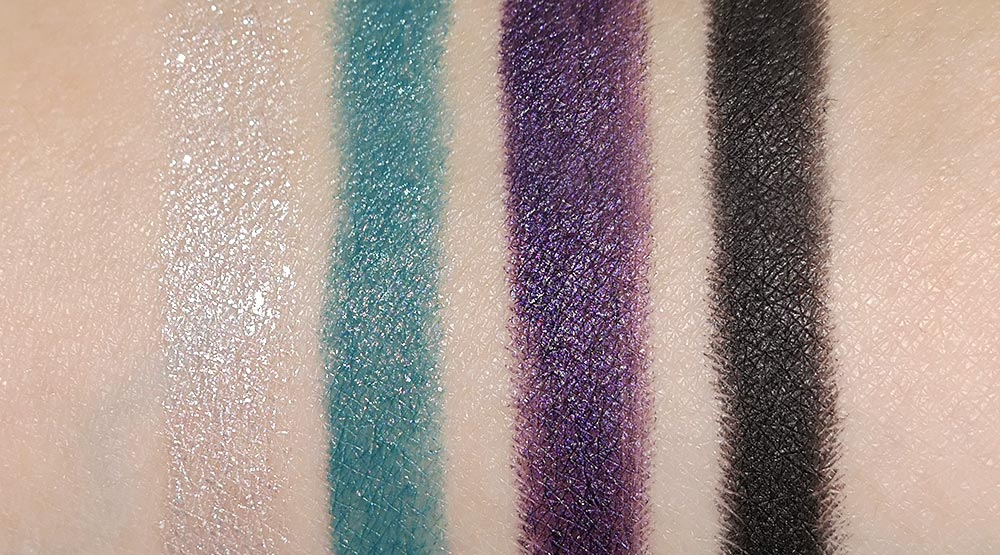 NARS Silver Factory, Heat, Trash and Empire Soft Touch Eyeshadows swatches