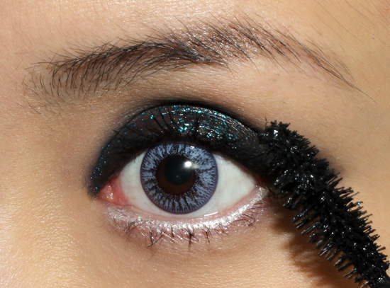 Wearing  Maybelline Mega Plush Volum'Express Mascara in Very Black
