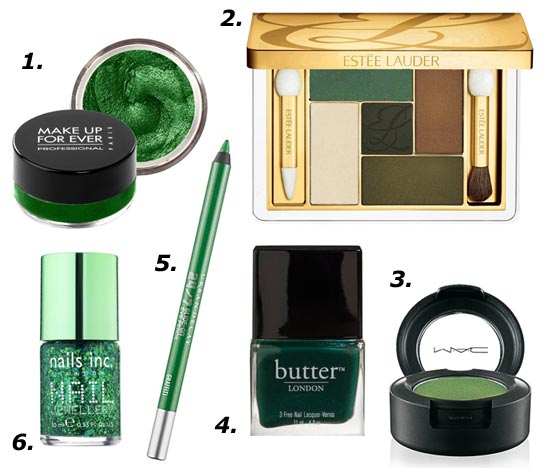 2013 Pantone Color Of the Year Emerald makeup products