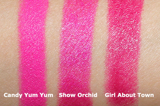 MAC Candy Yum Yum, Show Orchid and Girl About Town Lipstick swatch comparison
