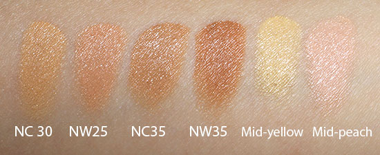 MAC Conceal and Correct Palette Medium NC30, NW25, NC35, NW35 and Mid-yellow, Mid-peach swatches