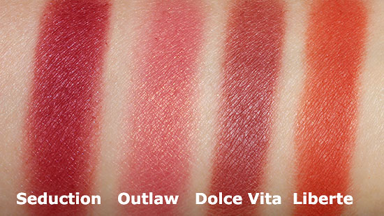 NARS Seduction, OUtlaw, Dolce Vita and Liberte Swatch comparison