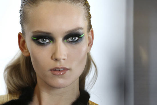 Graphic Green Eyeliner + Smoky Eyes at Versace Spring 2013 Couture