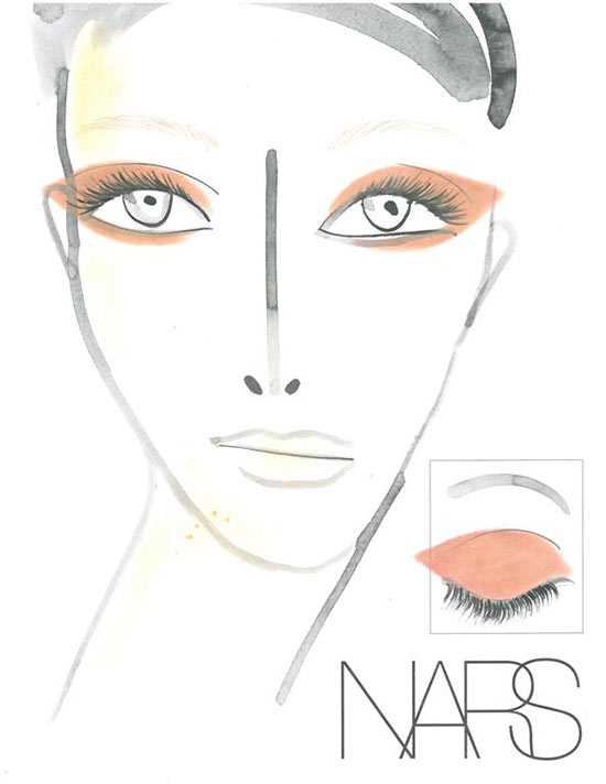 NARS makeup face chart at Creatures of the Wind Fall 2013